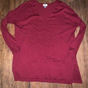 Tunic length maroon sweater from Old Navy